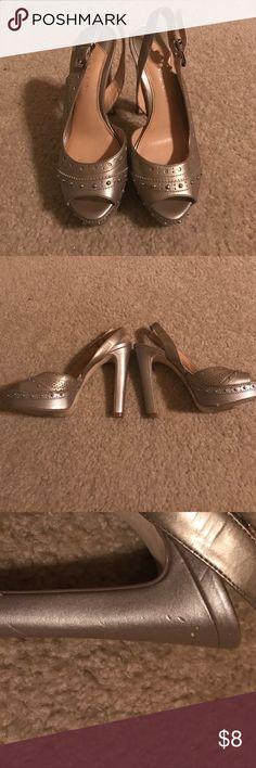 Gianni Bini slingback heels Pewter/silver Gianni Bini slingback heels Gianni Bini Shoes Heels