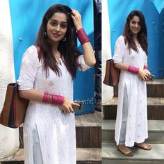 The gorgeous will be seen playing wife in the film . She was spotted yesterday… Ethnic Fashion, Indian Fashion, Boho Fashion, Fashion Dresses, White Fashion, African Fashion, Trendy Fashion, Fashion Design, Indian Dresses