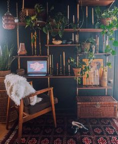 Wall Shelving Units, Diy Shelving, Earthy Home, Witch Room, Dark Living Rooms, Green Apartment, Fireplace Bookshelves, Spooky House, Boho Room