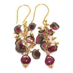 Watermelon Tourmaline Slice Earrings Cascade Gold Artisan Gemstone Jewelry