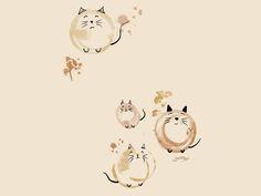 котики из отпечатков кофейной кружкой :)