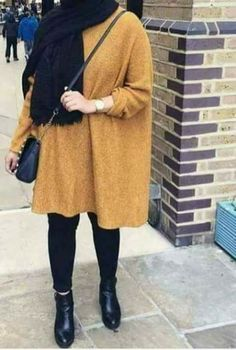 Oversized sweater hijab-Casual brownish outfits with hijab – Just Trendy Girls