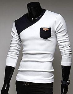 Bodycon/Informeel/Zakelijk Rond - MEN - T-shirts ( Katoenmengeling )met Lange Mouw