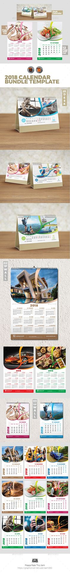 3 Creative Wall Calendar 2018 Bundle 3 Calendar 2018, Creative - calendar flyer template