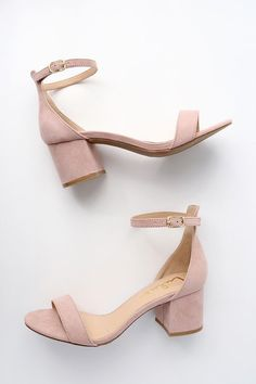 Say hello to your new everyday shoe ... the Harper Nude Suede Ankle Strap Heels! A chic single sole silhouette heels, in a sweet shade of blush nude, feature a slender toe strap and peep-toe upper with a structured heel cup, and adjustable ankle strap with gold buckle.