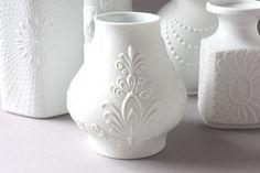 Bisque vase matte white porcelain Germany von wohnraumformer