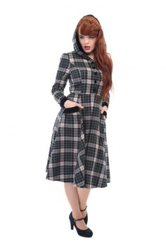 Collectif Vintage Ruby Sherwood Check Hooded Swing Dress - Collectif Vintage from Collectif UK
