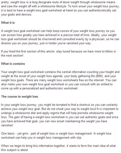 Quick Weight Loss Advices Setting Realistic Goals For Your Goal Worksheet