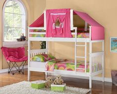 Low Loft Bed Tent Kit - Pink, White Wood