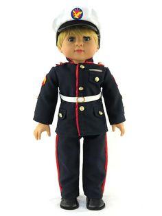 Doll Clothes USA Marine Corps Uniform Blue Formal For American Girl or Boy American Boy Doll, American Doll Clothes, Doll Costume, Girl Costumes, Boy Doll Clothes, Barbie Clothes, 18 Inch Boy Doll, Girl Dolls, Ag Dolls