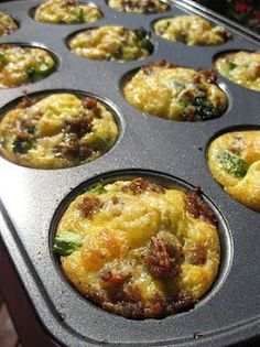 * Omlet Muffins  I LOVE THESE!!  Super fast and easy!  I used different ingredients and did an omlett muffin bar for brunch (spinach, white onions, cheese, turkey sausage, tomatoes, green chiles, green peppers) then I put a bit of the desired ingredient in the muffin cup, covered it with the egg mixture, and topped it with Parm.  DELICIOUS!!.