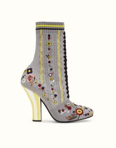 reputable site 0ab34 ef988 Boots in grey fabric with embroidery
