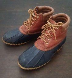 99b7d1244e2 Lands End Womens 8 Muck Duck Boots Rubber Brown Leather Waterproof Rain   LandsEnd  Rainboots