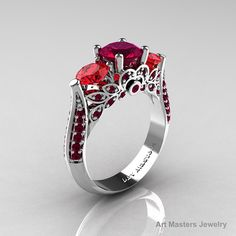 Classic 10K White Gold Three Stone Red Garnet Rubies by artmasters, $1099.00