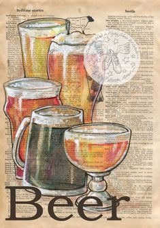 PRINT: Beer Mixed Media Drawing on Antique Dictionary Page by Flying Shoes Art Studio Book Page Art, Book Art, Newspaper Art, Decoupage Vintage, Dictionary Art, Art Graphique, The Artist, Magazine Art, Art Studios