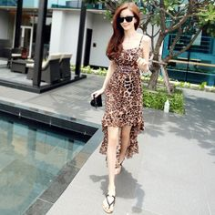 Free Shipping Sexy Leopard Dress Sleeveless Spaghetti Long Mermaid Silk Backless Women Summer Dress Hot Day Lady One-piece Dress $19.80