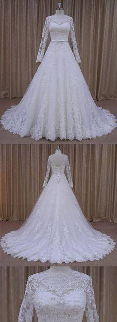 Long Sleeve Wedding Dresses Ivory, Tulle Lace Wedding Dresses Country, Simple Wedding Dresses Modest
