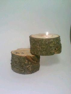 Wedding Ring Box, Ring Bearer Box, Jewelry Box, Rustic Log Tealight Candle Holder. $25.00, via Etsy.