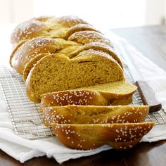 Pumpkin challah. Tasty! Make sure to let it rise to fully twice the original size to prevent it splitting when baked.