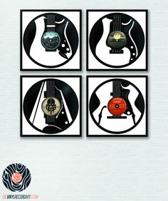 Guitars Pack – Art and sculptures on upcycled vinyl records
