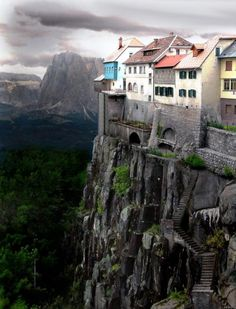 While the cliffside village of Ronda, Spain DOES exist this photo is NOT real, it is a Photoshopped image. Click the link for real photos of Ronda, Spain. Places Around The World, Oh The Places You'll Go, Places To Travel, Travel Destinations, Around The Worlds, Wonderful Places, Beautiful Places, Simply Beautiful, Amazing Places