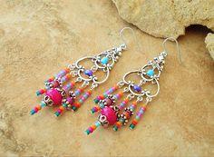 Boho Chandelier Earrings, Pretty Watercolors, Hippie Chic Earrings, Gypsy Style Earrings, Original Handmade Bohemian Jewelry by Kaye Kraus by BohoStyleMe on Etsy
