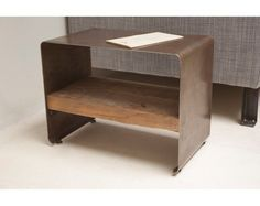 Reclaimed Wood and Steel 'Hudson' Side Table, Low Profile, Modern Form 21.5 x 11 x 15.75 tall