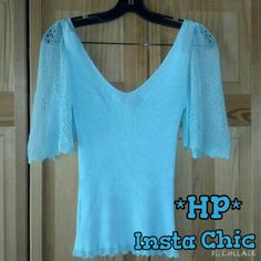 HP Trina Turk Baby Blue Ribbed Top This top is preloved but in very good condition. It is a ribbed texture top with crochet flowy sleeves. The color is like a baby blue. V neckline in the front and back. Made of 65% rayon 35% nylon for the body and 62% acrylic 38% nylon for the sleeves. Tag size Medium. Trina Turk Tops