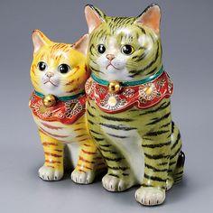 Kutani Japanese Pair Maneki Neko Lucky Halloween Cats Ceramic