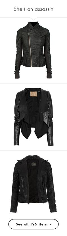 """She's an assassin"" by poprocks18 ❤ liked on Polyvore featuring outerwear, jackets, leather jackets, coats & jackets, tops, rick owens, fitted jacket, rick owens jacket, fleece-lined jackets and shawl collar jacket"