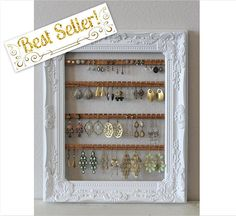 Earring Holder Frame Hanging Earring Organizer Custom - October 06 2019 at Diy Jewelry Holder, Hanging Jewelry Organizer, Jewelry Stand, Earring Holders, Necklace Holder, Jewely Organizer, Jewelry Rack, Craft Jewelry, Jewelry Tree