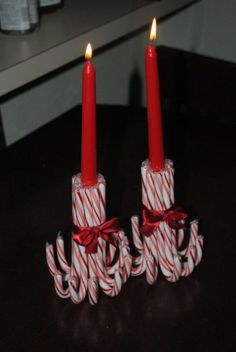 DIY Candy Cane Candle Holders via Pretty My Party Get your glue guns fired up for these 17 Epic Christmas Craft Ideas! Better yet, turn it into a Christmas Craftstravaganza with friends! Winter Christmas, Christmas Holidays, Christmas Wreaths, Christmas Ornaments, Christmas Movies, Candy Cane Christmas, Tacky Christmas, Elegant Christmas, Christmas Parties