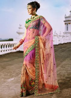 Shaded #Net Embroidered Saree