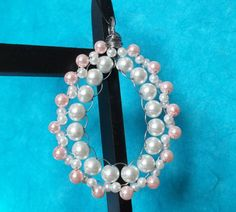 handmade beaded pendant teardrop shaped white and pink glass pearl beads wire wrap