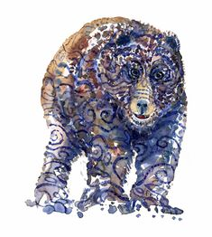 Tribal Bear Front View Watercolor by Frits Ahlefeldt #animal #wildlife #winter #watercolour #artwork #painting