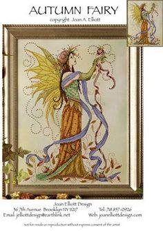 Joan Elliott Autumn Fairy - Cross Stitch Pattern. Stitched on 28 count Fallen Leaves hand-dyed Jobelan by Polstitches using DMC floss & Kreinik #4 Braid. Also M
