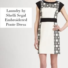 """Laundry by Shelli Segal Embroidered Ponte Dress Laundry by Shelli Segal Embroidered Ponte Dress. This graphic, two-tone color blocked design is enhanced by geometric embroidered insets. Jewel neckline, cap sleeves, banded waist  and embroidered insets along with a concealed back zip make this dress on point. 100% Fully lined. Approximate Measurements: Length: 21"""" from natural waist. Material: Rayon/Nylon/Spandex. Color: White/Black Sold Out! Condition: Excellent. Please share, comment & make…"""