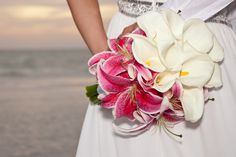 Calla Lily and Stargazer Lily Wedding Bouquet. Bouquet by Sun Kissed Weddings.