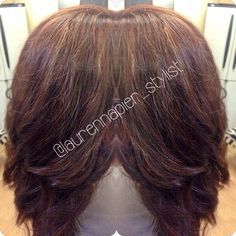 Red with some highlights. Hair by Lauren.