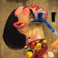 Street Art - Aryz and Os Gemeos, Łódź, Poland Amazing Street Art, 3d Street Art, Street Art Graffiti, Street Artists, Psy Art, Sidewalk Art, Art Deco, Art Mural, Outdoor Art