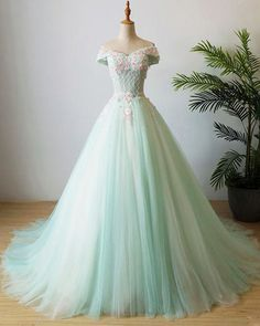 Mint tulle long beaded appliques prom dress with cap sleeves