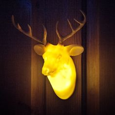 Hunting Trophy Door Lights Taxidermy Chic is definitely having a renaissance, but most of us would rather preserve the earth's dwindling animal population, and who really has the space for a full-blown buffalo head on their wall? Animal Head Decor, Animal Heads, Everything Is Illuminated, Faux Taxidermy, Creatures Of The Night, Unusual Gifts, Strange Gifts, Unique Presents, Christmas Shopping