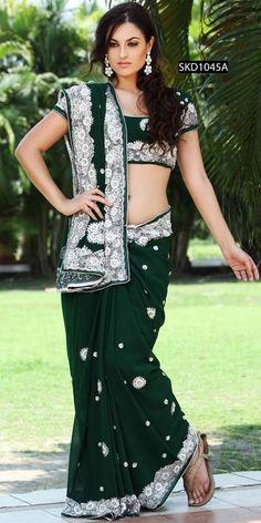 Feminine Bottle Green Sari