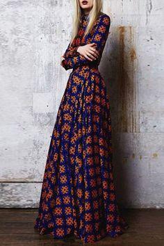 Orange Floral Print Long Sleeve Fashion Maxi Dress