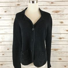 Chico's Cardigan Sweater Jacket Cotton BLACK Size 1 = MEDIUM or 8-10 EUC  | eBay