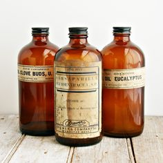 Grouping of 3 Large Antique Apothecary or Pharmacy Bottles
