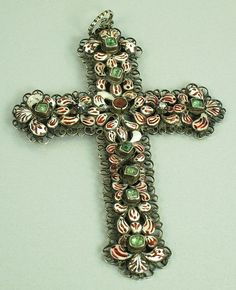 Victorian Austrian Hungarian Enamel Cross from thegemgallery on Ruby Lane