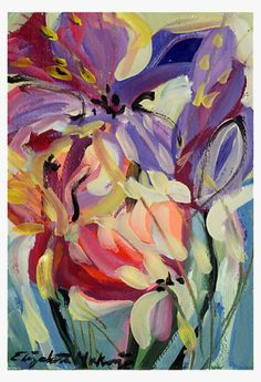 Elizabeth Mukerji - Floral Painting Giclee SIMPLY JOY Modern ABSTRACT