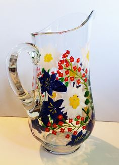 Hand Painted Alpine Flower Water Pitcher Large por PritzDesigns