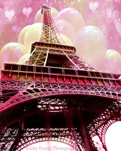 Paris Photography Eiffel Tower Valentine Hearts by KathyFornal, $18.00